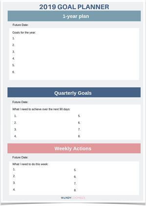 1 page goal planner